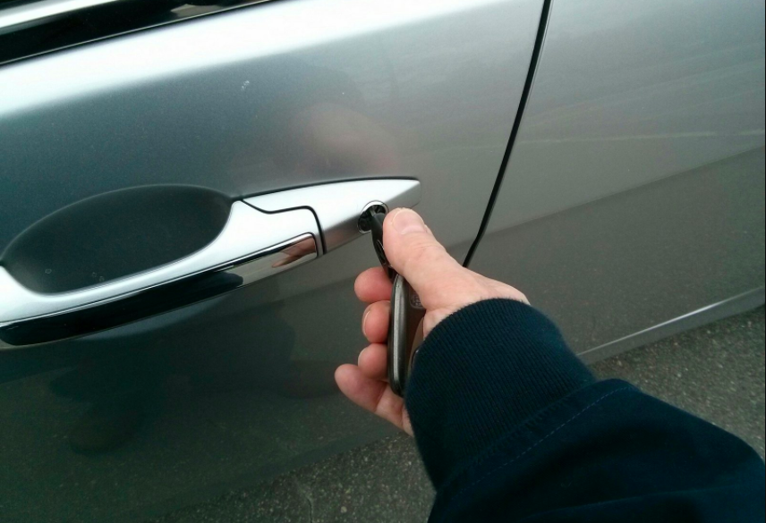 Open the driver's door with the key