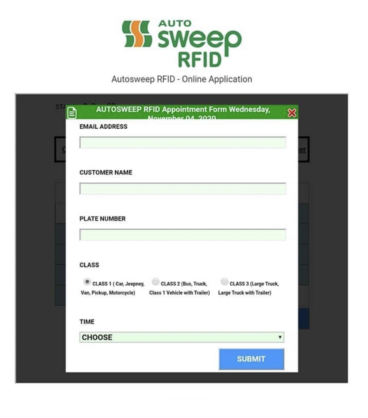 autosweep rfid application form